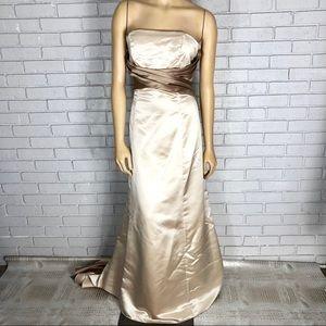 Bill Levkoff Women's Champagne Bridesmaid Dress